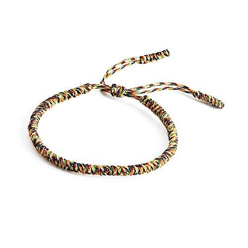 LUCKY BUDDHIST Pulsera budistas tibetanas + Colgante/Collar! para Mujeres Hombre Adolescente. Tamaño Ajustable para Casi Cualquier Mano. Hecho a Mano de Cuerda. Muchos Tipos Disponibles (Multi Oro)