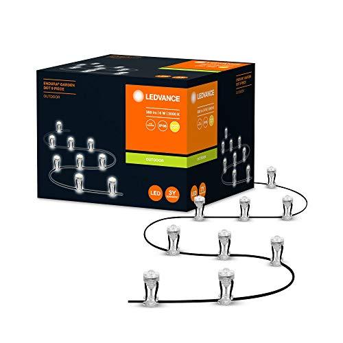 LEDVANCE LED Gartenleuchte, LED Lichterkette mit 9 LED Dots für Außen, Basispaket, Warmweiß (3000K), 6W, ENDURA GARDEN DOT 9P