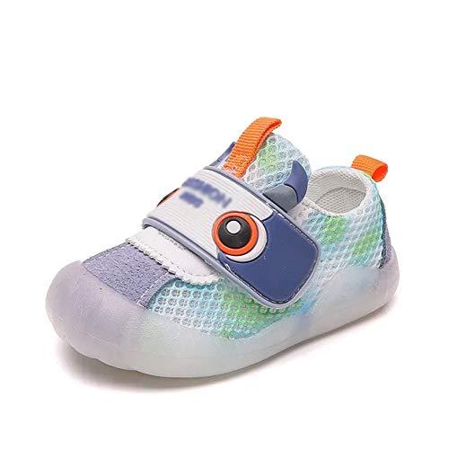 Zapatillas deportivas para niños y niñas, de verano, de malla transpirable, para fiestas, talla 18, color: azul