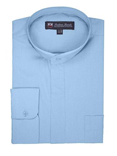 FORTINO LANDI Men's Long-Sleeve Banded Collar Shirt - Light Blue 4XL(20-20.5 Neck) Sleeve 36/37
