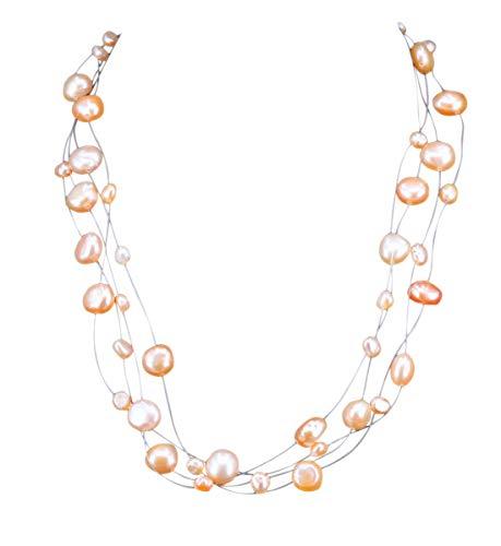 NicoWerk Damen Perlenkette Barockperle 3 8mm aus 925 Sterling Silber Rosa Hochzeit Brautschmuck Mehrreihig Echte Perlen Zuchtperlen Collier PKE147