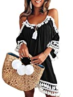 The size you could choose here is EU size. Package Include: 1 x Women's dress. Please note that the size for you to choose is EU size. Feature: Sexy, A-line, Midi-length,, Loose, Short Sleeve, V-neck Tassel Boho Dress. It can be worn as a loose dress...