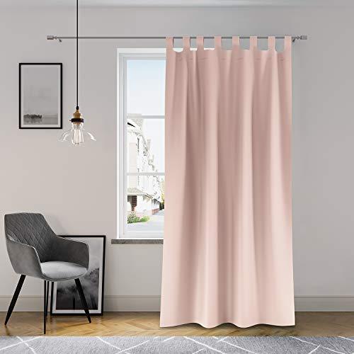 AmeliaHome Vorhang 140x250 cm Fensterdekoration Schlaufenschal Dekoschal Dekorvorhang Oxford Solid Puderrosa