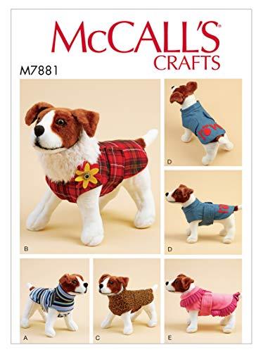 McCall Pattern Schnittmuster für Hundemantel, Größe XS bis XL, einfarbig