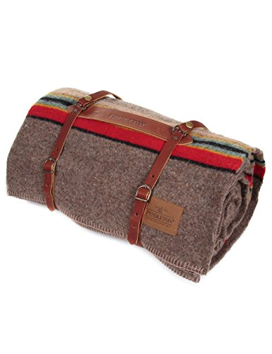 Pendleton Twin Wool Camp Blanket with Leather Carrier - Mineral Umber