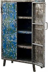 KOH DECO Petite Armoire Bleue en métal recyclé