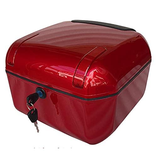 BaúL Moto Universal, Carcasa De ABS, Luz De Advertencia Roja, Almacenamiento De Gran Capacidad, Desmontaje Y Montaje con Una Sola Tecla, 33 * 34 * 23 Cm 4