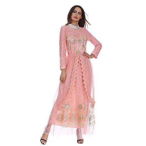 Hougood Vrouwen Maxi Jurk Bruidsmeisje Jurk Abaya Jurken Moslim Islamitische Lange Mouwen Dubai Kaftan Robes Dressing Jurk Kant Tule Borduurwerk Avond Galajurk Bruidsjurken