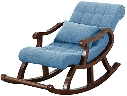 LTHDD Silla Mecedora de Madera nórdica, sillón reclinable en la Silla anciana Sofá for Adultos Balcón de Ocio Fácil Silla, Azul