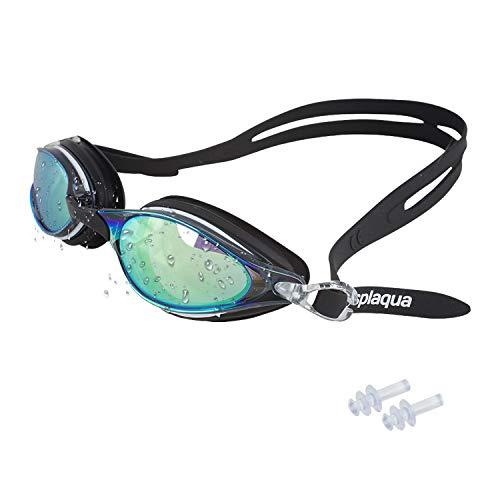 Splaqua Gafas de natación–Anti Fugas Espejo Lentes con protección UV–Tapones para los oídos & Incluye Funda–Talla única, Negro