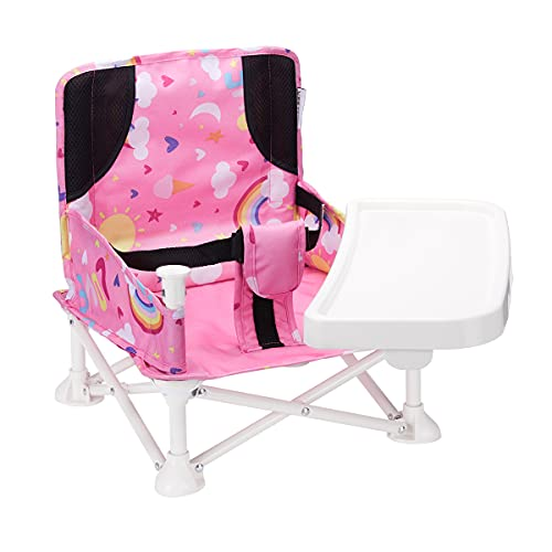 VEEYOO Travel Booster Seat - Booster Seat for Table with Removable Dining Tray, Portable Baby Chair for Indoor/Outdoor, Camping, Picnic, Beach   Folding, Compact Baby Seat with Storage Bag(Pink)