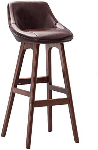 Zfggd Home Bar Muebles de Madera de Brown Taburete Taburete Alto for desayunos Comedor de heces for la Cocina Inicio Barra Silla con Respaldo Comercial y Brown de la PU del Amortiguador Concise Style