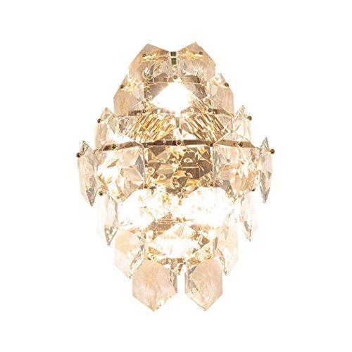 GJX kristallen wandlamp, modern, creatief, zeshoekig, kristalglas, luxe lamp, woonkamer, slaapkamer, nachtkastje, tv-wand, mode, persoonlijkheid, goud, wandlamp E14 (kleur: K9 kristal)