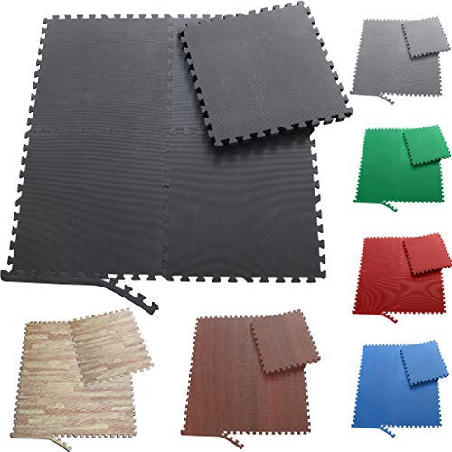 Sporttrend 24 - Schutzmatten Set 6-24teilig schwarz 60x60x10cm | Bodenschutzmatte Unterlegmatte für Fitnessgeräte Sportgeräte (24 Schutzmatten + 48 Endstücke, schwarz)