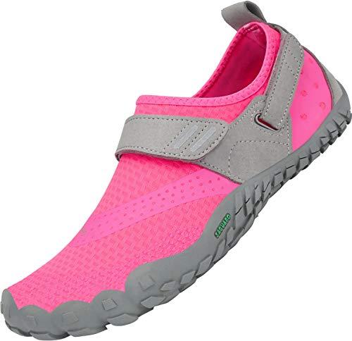 SAGUARO Secado Rápido Minimalista Zapatillas de Gimnasia Hombre Mujer Trekking Playa Ligera Antideslizante Zapatos de Surf Resistente al Desgaste Zapatilla de Trail Running, Rosa 38