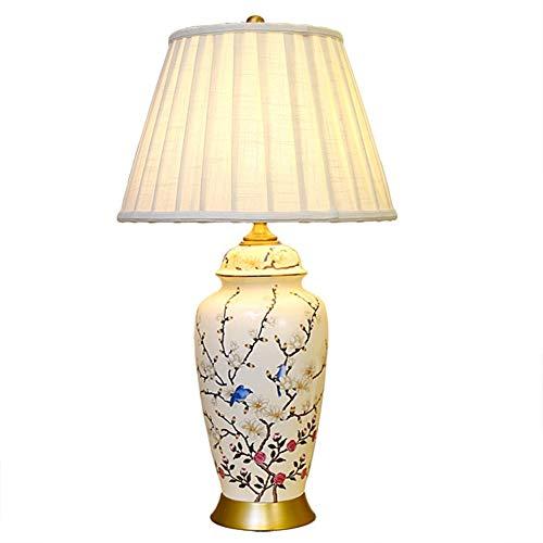 XIANGDONG Lámpara de Mesa salón Cerámica lámpara de Mesa, lámpara de Mesa Chino, Sala de Estar Dormitorio lámpara de Mesa, clásico Interruptor de botón Tabla E27 (Size : A)