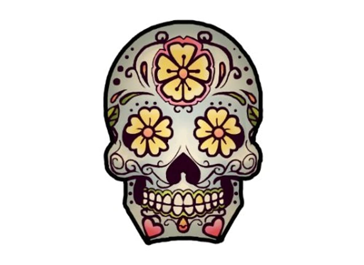 Sugar Skull Decor Temporary Tattoo - Realistic Day of the Dead Body Art - Party Favor - Gift - Accessory - Set of 2 Cool Removable Dia de los Muertos Tattoos Prints, 3