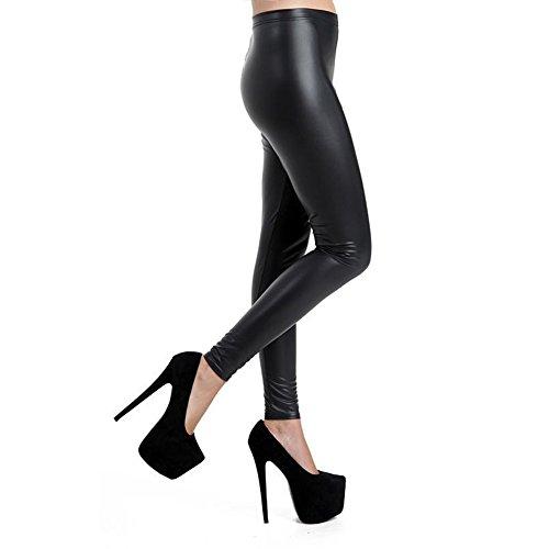 GX shop Damen Tights Low Waist Hose Stretch PU Leder Leggings Schwarz, Schwarz, H-2-M