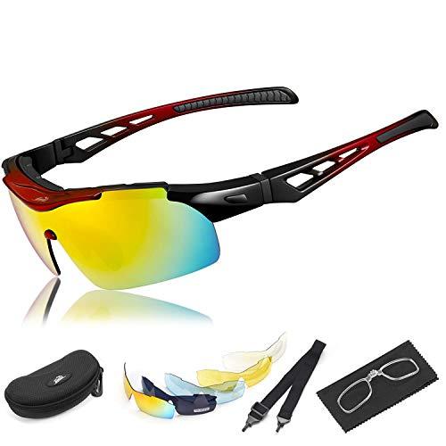 HiHiLL Gafas Ciclismo Polarizadas, Gafas de Sol Deportivas con 5 Lentes Intercambiables UV400 Protección Antivaho Antireflejo Anti Viento para Hombre y Mujer Ciclismo Running Coche MTB Moto Montaña Esquí - Rojo