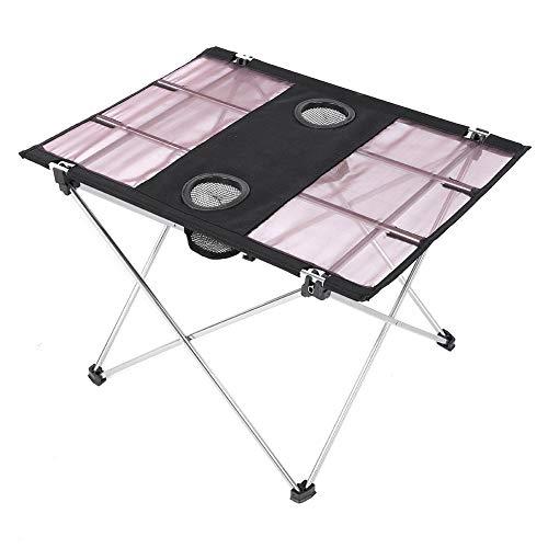 T best Bureau de Table de Pique-Nique, Bureau de Table léger Pliant en Plein air pour Le Barbecue de Pique-Nique de Camping Peut Mettre la Tasse(Argent)
