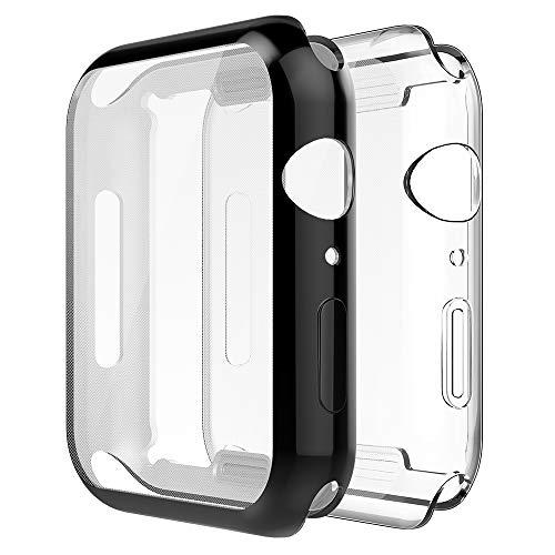 Simpeak Cover Compatibile per iWatch 40mm Series 6/SE Series 5 Series 4(Confezione da 2), Custodia Compatibile con iWatch Full Protettivo TPU Caso Tutti i Modelli, Transparent+Nero