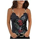 FeelFree+ Camisetas sin mangas para mujer Top de cadena de camisola con cuello en V sexy con estampado de rosas casual de mujer Camiseta de tirantes verano moda callejera Tops Chaleco Casual