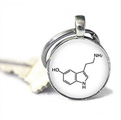 Llavero de química, llavero de molécula de serotonina,...
