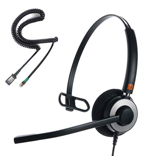 IPD IPH-160 Professional Monaural Noise Cancelling,Corded Call Center/Office Headset with U10P-S Bottom Cable Works with All Yealink,Snom,Panasonic & LG IP Phones