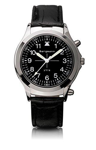 Original Bergmann-Uhr 1978 Agent Taschenlampe Kroko Lupe Klassiker Quarz Leder Quarzuhr Edelstahlboden Bauhaus Modisch Elegant klassisch Design Zeitlos Unisex Direkt vom Hersteller