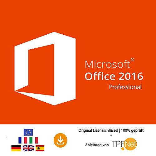Microsoft® Office 2016 Professional 32 bit & 64 bit Vollversion Original Lizenzschlüssel per Post und E-Mail + Anleitung von TPFNet® - Versand maximal 60Min