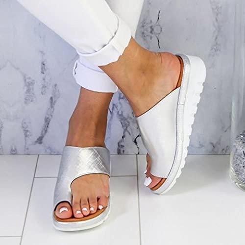 Flip Flop per Adulti,Pantofole Femminili Senza Fondo Senza Bottoni della Grande Dimensione, fliprace Selvaggio delle Donne-Argento_39,Beach Flip Flops
