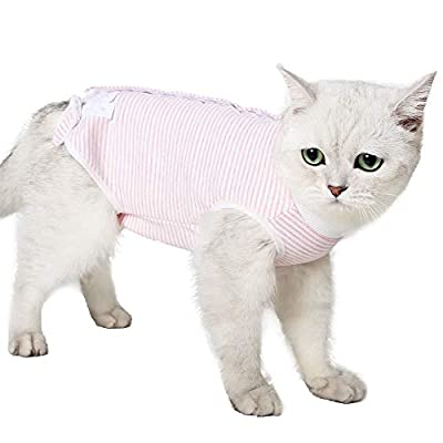 LIANZIMAU Cat Recovery Suit With Avoid Licking For Surgical Abdominal Wounds Soft Breathable Home Indoor Pet Clothing E collar Alternative For Cats Dogs After Surgery Wear Pajama Suit