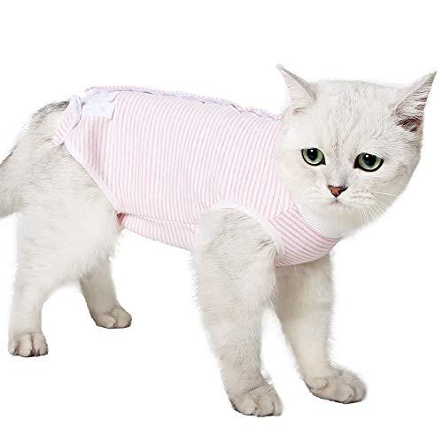 Traje de recuperación para gatos, transpirable, a rayas, quirúrgico, para enfermedades de la piel y heridas abdominales, cuello E, alternativa para gatos después de la cirugía, ropa interior