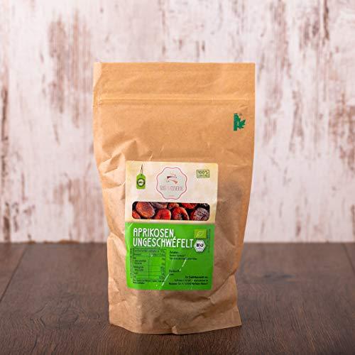 süssundclever.de® Bio Aprikosen, getrocknet | 1 kg | ungezuckert und ungeschwefelt | Demeter-Qualität | plastikfrei und ökologisch-nachhaltig abgepackt | 100% naturbelassen