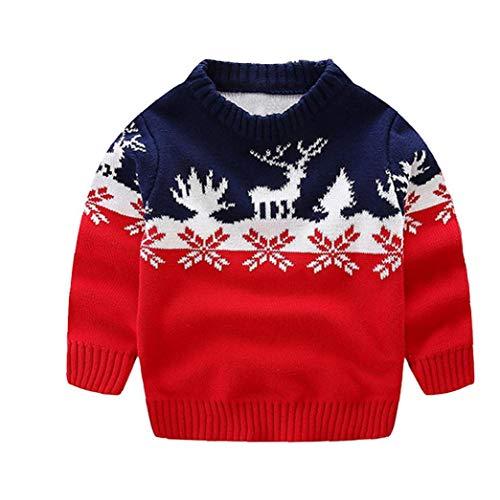 Nicedier Algodón de Navidad suéteres de Cuello Redondo de Punto Flojo del...