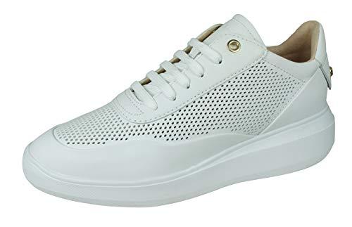 Geox D RUBIDIA A, Scarpe da Ginnastica Basse Donna, Bianco White C1000, 37 EU