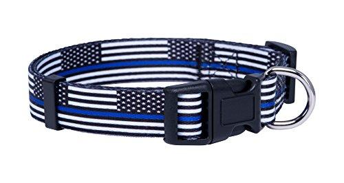 Native Pup Thin Blue Line Flag Dog Collar (Large)