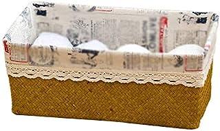 DHFDHD Rotin Panier de rangement de bureau Sundries boîte de rangement cosmétiques ménagers panier de collations à distanc...