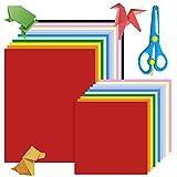 Thinkingwings Papel para origami, 60 hojas A4 y 100 hojas de 15 x 15 cm, papel plegable de doble cara en 20 colores vivos, papel origami para arte y manualidades (con tijeras)