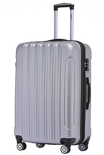 BEIBYE TSA Schloß 2050 Hartschale Trolley Koffer Reisekoffer in M-L-XL-Set (Silber, 66cm)