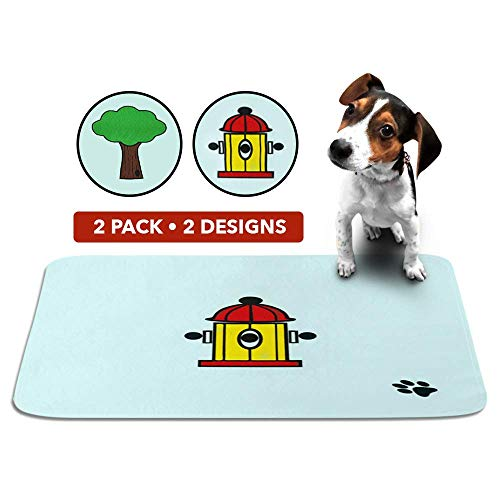 Cute Washable Puppy Pee Pads | 2 Pack Fire Hydrant, Tree Designs | Large Super Absorbent Wee Wee Potty Mats | Dog Housebreaking, Pet Crate Training | Multi-Purpose Reusable Eco-Friendly | Whelping