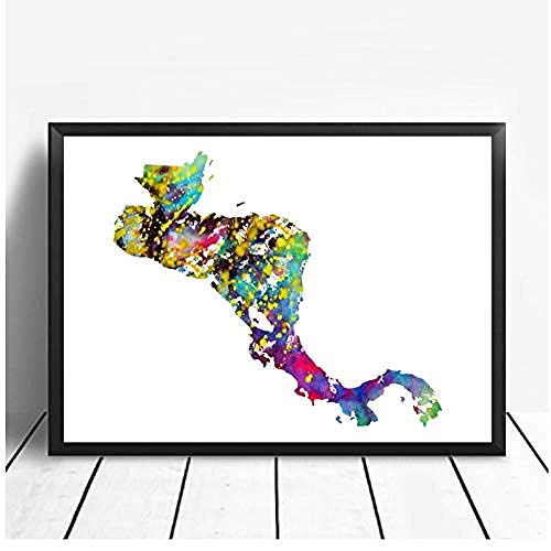 Canvas print,Decoraties woonideeën Aquarel Stad Cuba Egypte Centraal Tsjechië Kroatië Cape Cod Brazilië Kaart Poster Art Canvas Poster Room Decor-40x60cm
