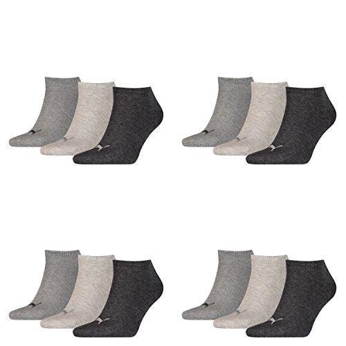 PUMA Unisex Sneakers Socken Sportsocken 12er Pack anthrazit grau hellgrau 43/46