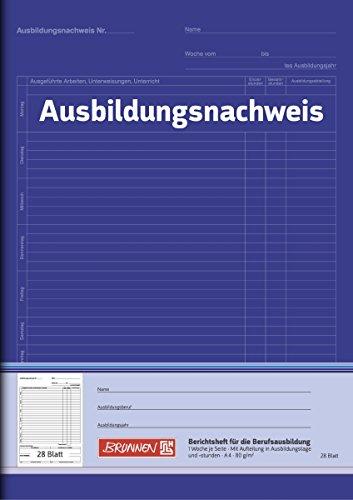 3er Pack BRUNNEN (Ausbildungsnachweisheft, A4, 28 Blatt) 1 Woche 1 Seite
