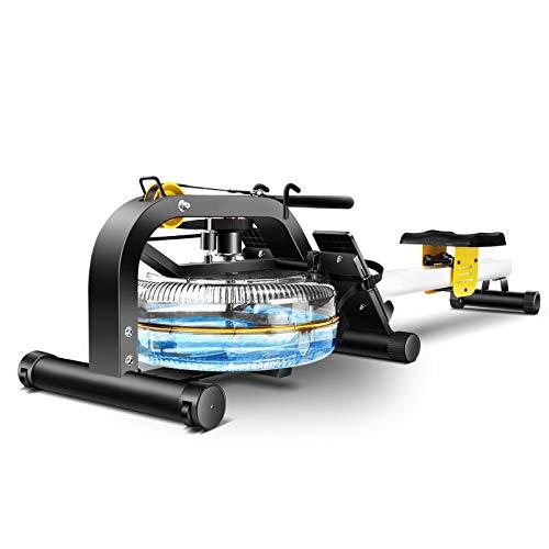 HUIGE Multifunktion Indoor Rowing Rudergerät Mit Wasserwiderstand Sitzpolster Ist rutschfest Schweissfest Langlebig Trainingscomputer Mit LCD-Display