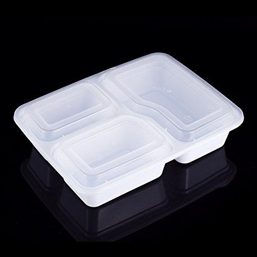 10 contenitori per alimenti usa e getta per alimenti da asporto, adatti al microonde, a 3 scomparti, contenitore per alimenti da asporto, vassoio per il pranzo (colore bianco).