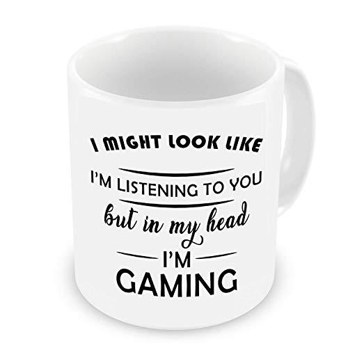 Taza con texto en inglés 'I Might Look Like I'm Listening to You But in My Head I'm Gaming, taza de Navidad, blanco, divertido, Sarcasm Mug 11 oz