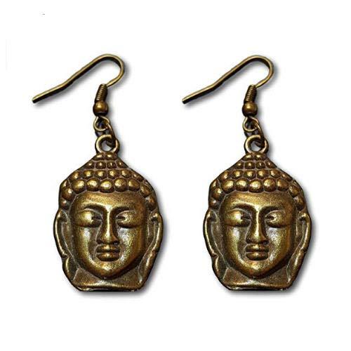 Pashal Buddha Face Bronze Dangle Earrings