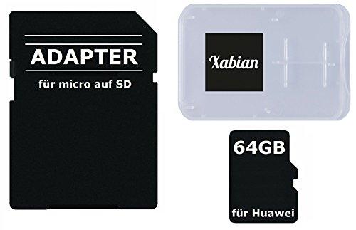 64GB MicroSD SDXC Speicherkarte für Huawei Smartphones und Tablets mit SD Adapter und Memorycard Box