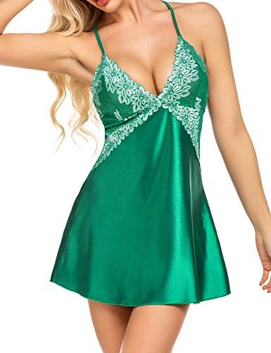 Avidlove Lingerie for Women Silk Nighties Teddy Sleepwear Sexy Satin Nightgown Green XL